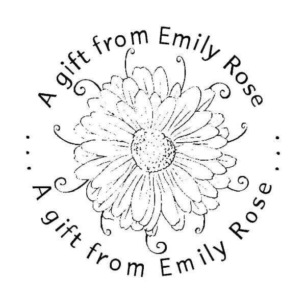 Monogrammstempel rund - Dekorative Blume, um ein Geschenk zu machen