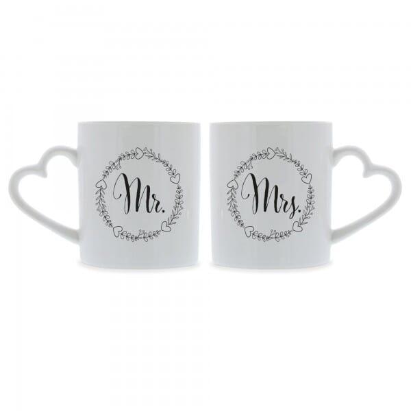 """Keramiktassen mit Herzhenkel (2 Stück) Mr. & Mrs. """"SW"""""""