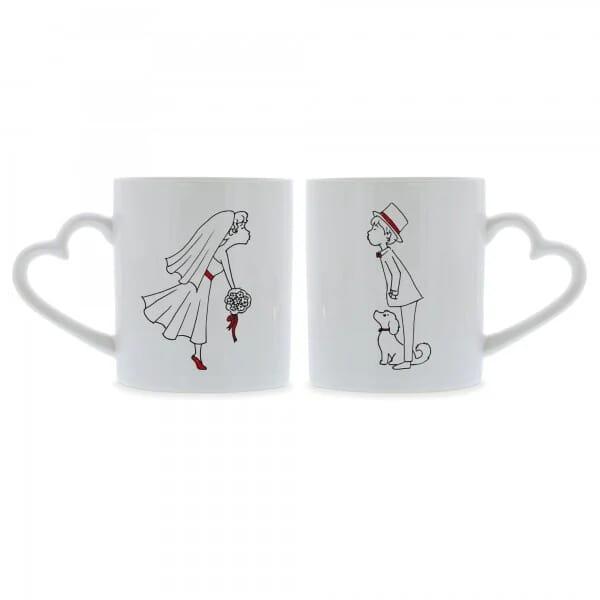 Keramiktassen mit Herzhenkel (2 Stück) Brautpaar