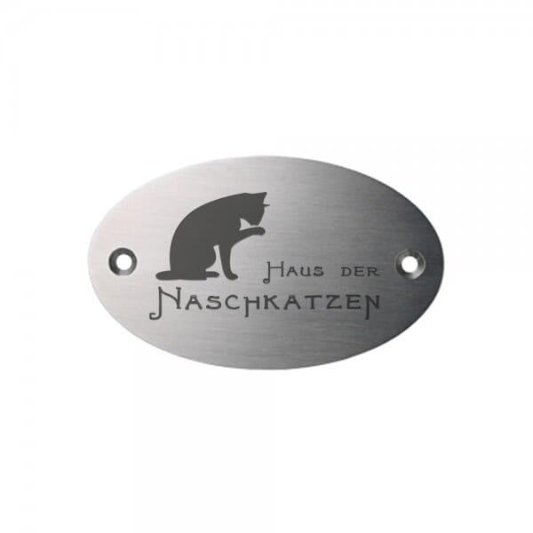 Tierschild aus Edelstahl oval (Gravurmaß 65x40 mm - 6 Zeilen)