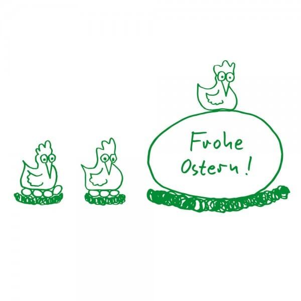 Ostern Holzstempel - Hühner (60x30 mm)