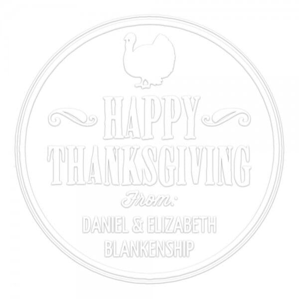 Monogramm-Prägezange 51 mm rund - Happy Thanksgiving