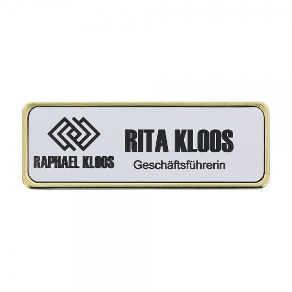 Ansteckschild-Namensschild mit Metallrahmen gold (74x23,5 mm - 3 Zeilen)