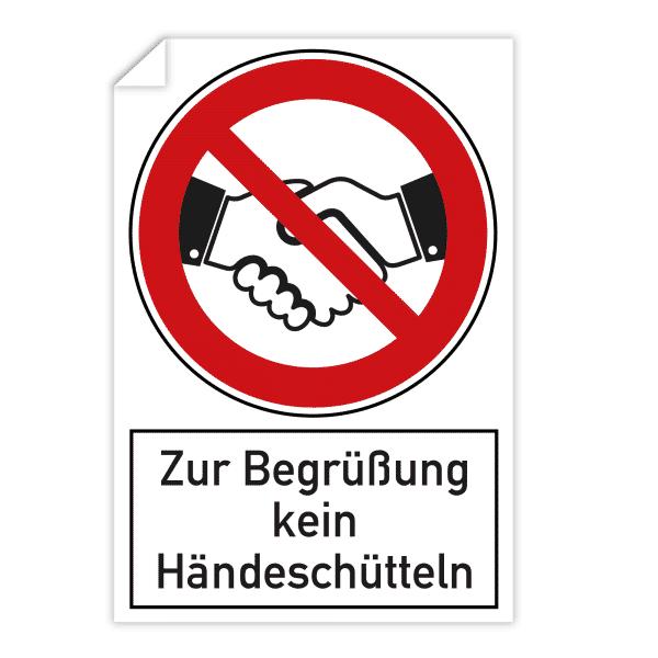 3 Stück Aufkleber - Zur Begrüßung kein Händeschütteln (200x300 mm)