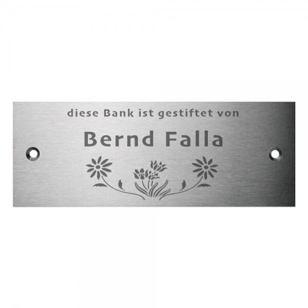 Bankschild aus Edelstahl (Gravurmaß 120x50 mm - 7 Zeilen)
