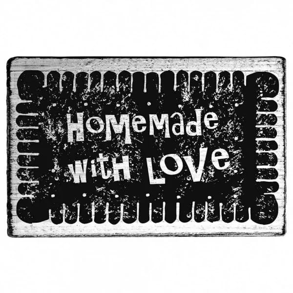 """Vintage Stempel """"Homemade with love"""" - Zackenrand"""