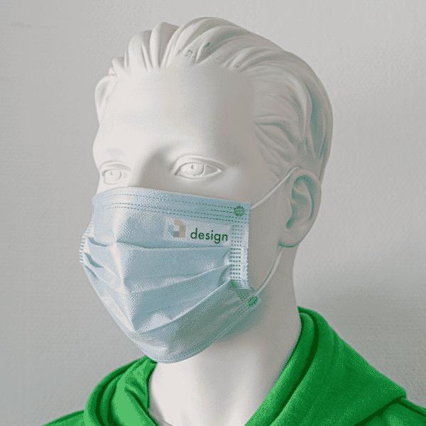 50 Stück Einweg Alltagsmasken mit Ihrem Logo / Text (Druckfläche 50x20 mm)