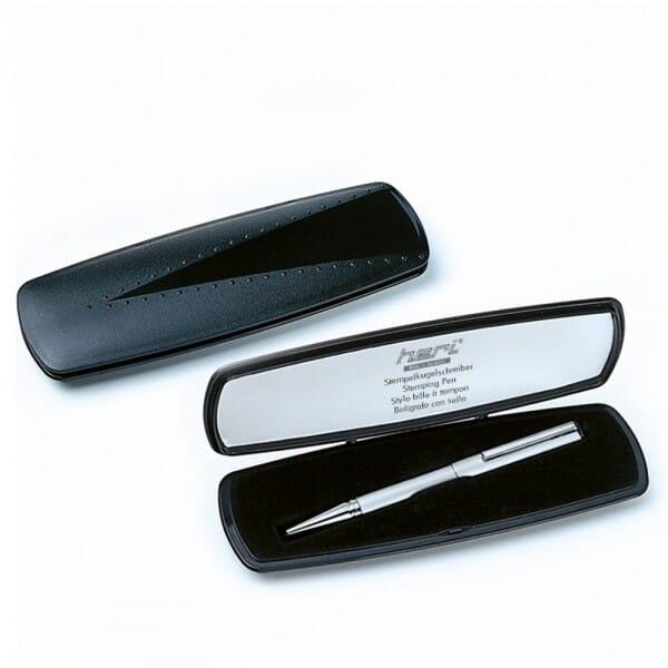 Heri Diagonal 3021 Kugelschreiberstempel Schwarz/Silber (33x8 mm - 3 Zeilen)