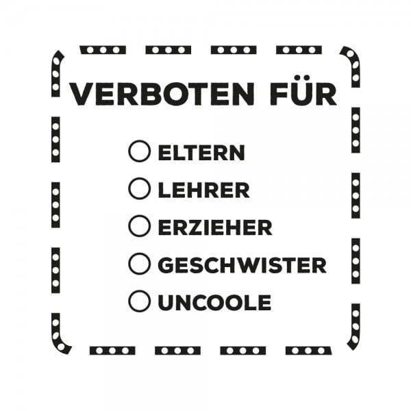 Teenager Holzstempel - Verboten Für (50x50mm)