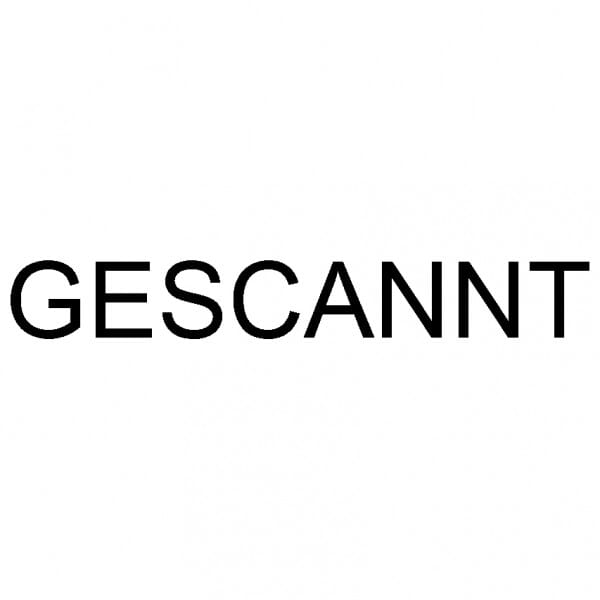 """Dormy Imprint 11 Lagertext """"Gescannt"""" (37x14 mm - 1 Zeile)"""