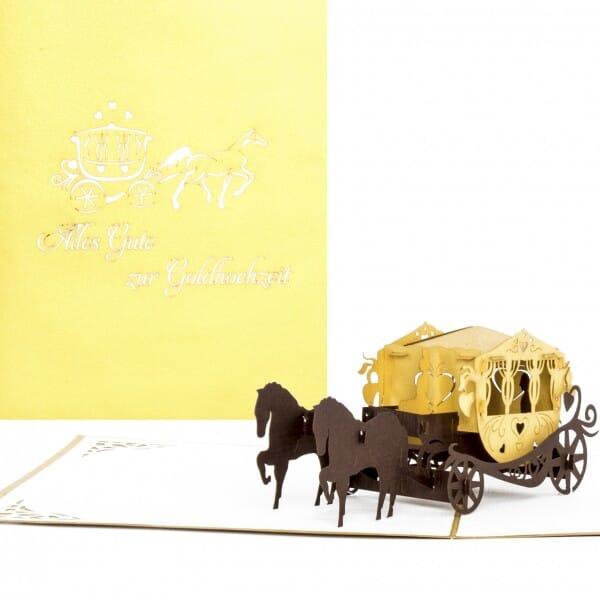 Colognecards Pop-Up Karte Kutsche Alles Gute zur Goldhochzeit