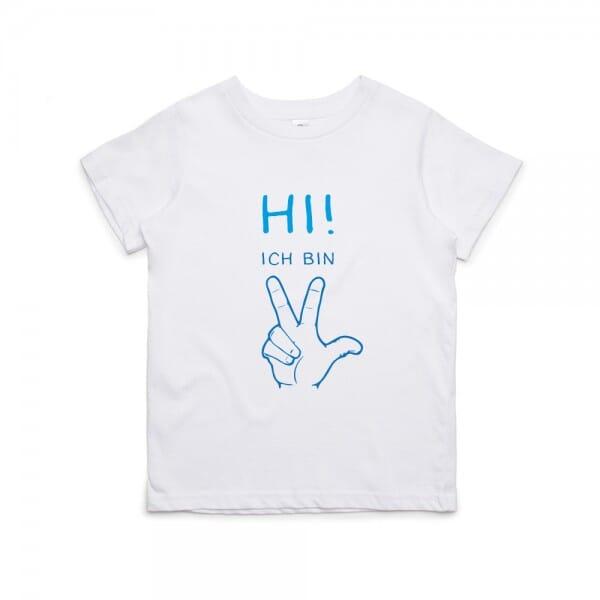 """Kinder T- Shirt zum 3.Geburtstag """"Hi!-Ich bin 3"""""""