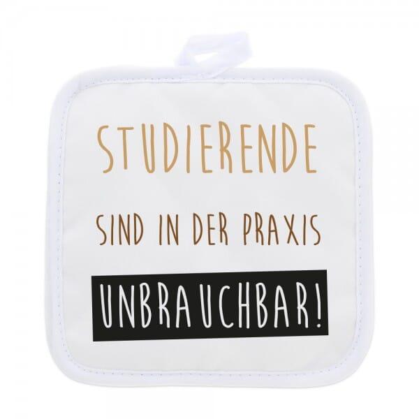 """Topflappen (2 Stück) für Studenten """"Unbrauchbar"""""""