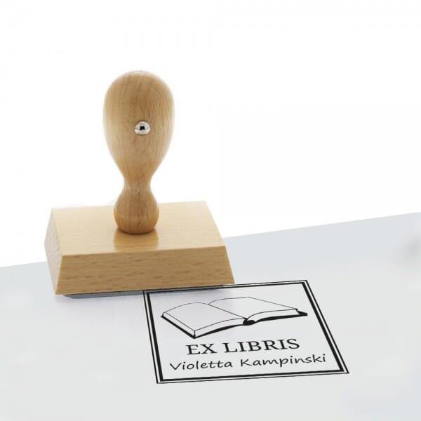 Exlibris Holzstempel / Selbstfärber Colop Q 43 (40x40 mm - 2 Zeilen)