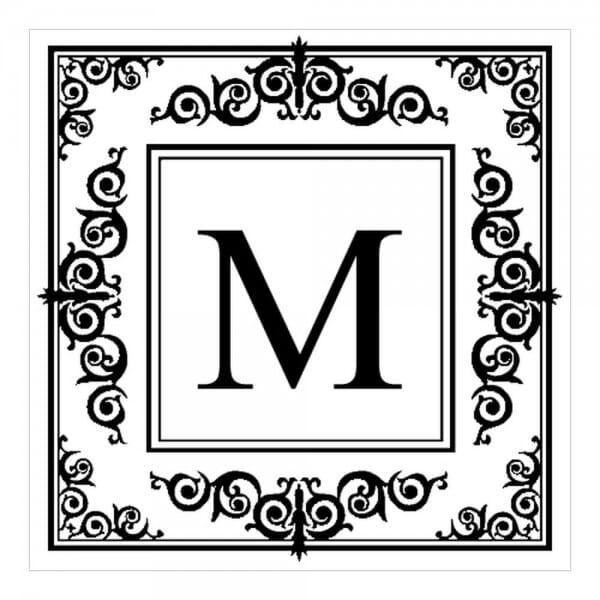 Monogrammstempel quadratisch - Orientalisches Design mit Initialen