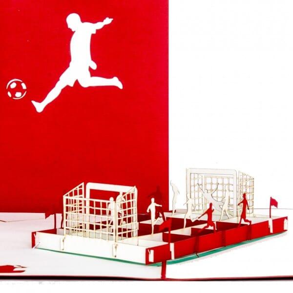 Colognecards Pop-Up Karte Fussballfan rot / weiss