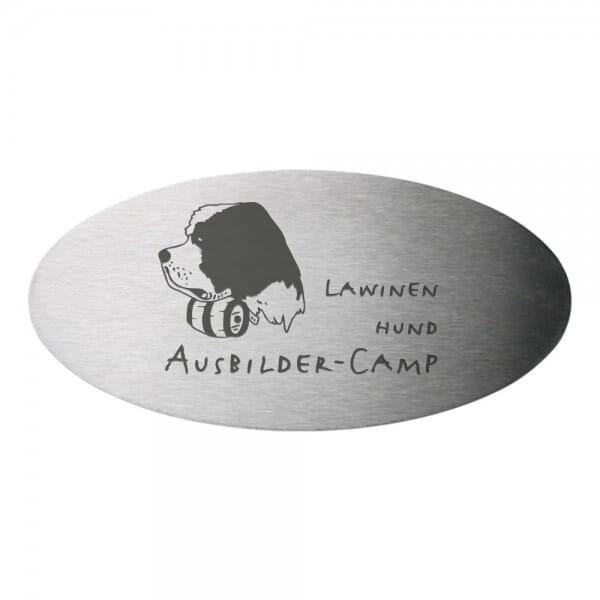 Tierschild aus Edelstahl oval (Gravurmaß 85x40 mm - 6 Zeilen)