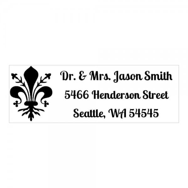 Monogrammstempel rechteckig - Adresse mit Lilien
