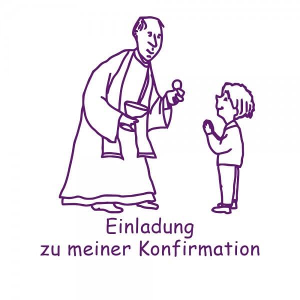 Geburt-Taufe und Kirche Holzstempel - Einladung Konfirmation (50x50 mm)