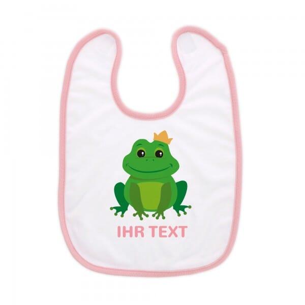 """Babylätzchen mit Klettverschluss """"Frosch"""" inkl. individueller Druck"""