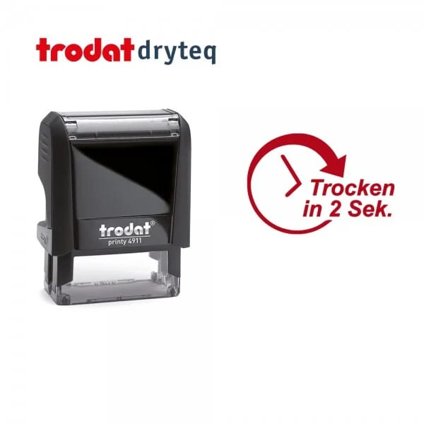 Trodat dryteq Multi-Oberflächen Textstempel 4911 (37x14 mm - 2 Ersatzkissen)