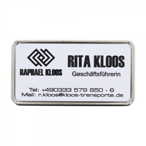 Ansteckschild-Namensschild mit Metallrahmen silber (69,5x34,5 mm - 5 Zeilen)