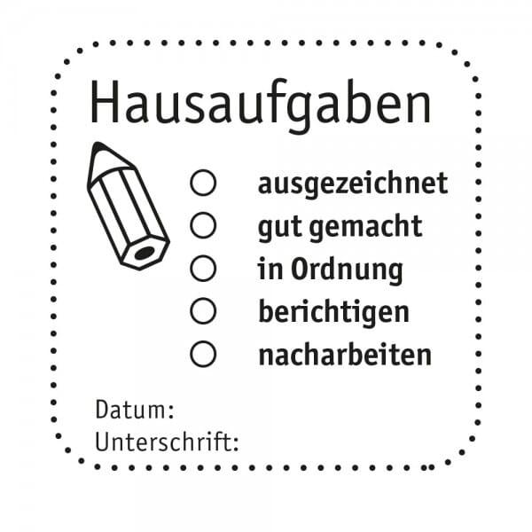 Pädagogik Holzstempel - Hausaufgaben (50x50mm)