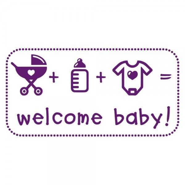 Geburt-Taufe und Kirche Holzstempel - Welcome Baby (60x30 mm)