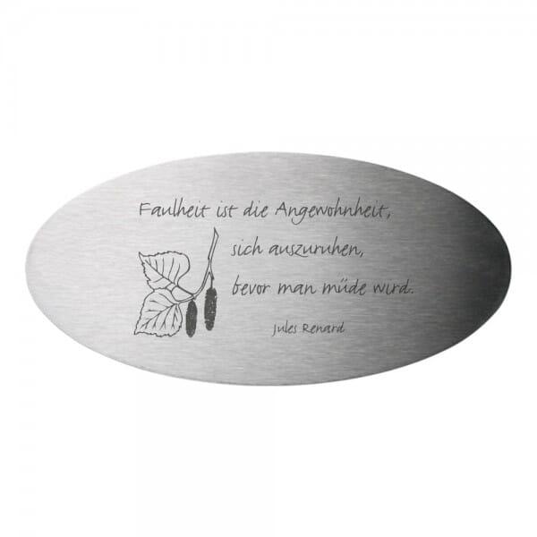 Bankschild aus Edelstahl oval (Gravurmaß 85x40 mm - 6 Zeilen)