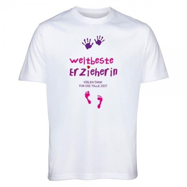 """T- Shirt Abschiedsgeschenk """"Weltbeste Erzieherin"""""""