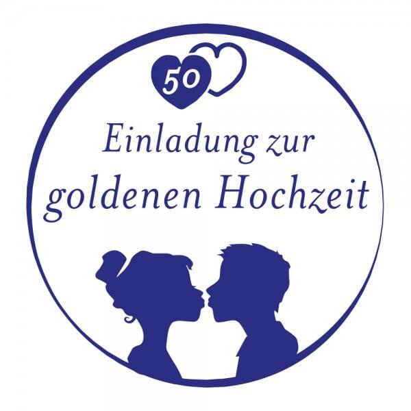 Feierlichkeiten Holzstempel - Einladung zur goldenen Hochzeit (Ø 40 mm)