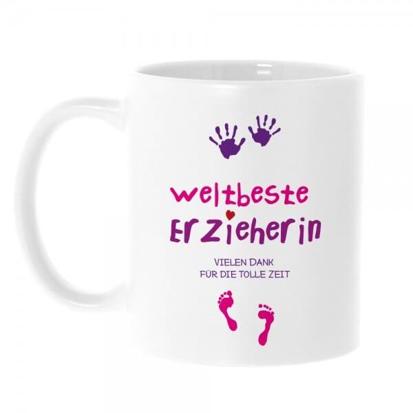 """Keramiktasse Abschiedsgeschenk """"Weltbeste Erzieherin"""""""