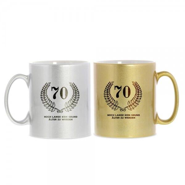 """Keramiktasse zum 70. Geburtstag """"Noch lange kein Grund älter zu werden"""""""