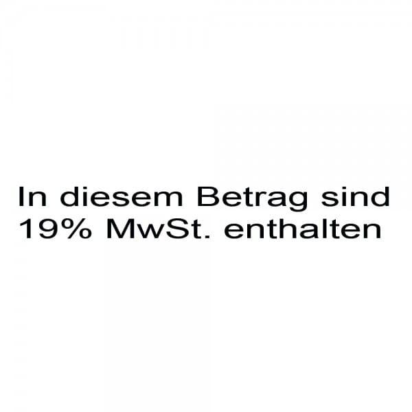 Holzstempel In diesem Betrag sind 19% MwSt. enthalten (60x10 mm - 1 Zeile)