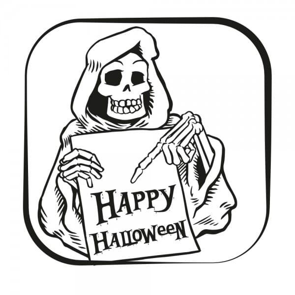 Halloween Holzstempel - Skelett (50x50 mm)