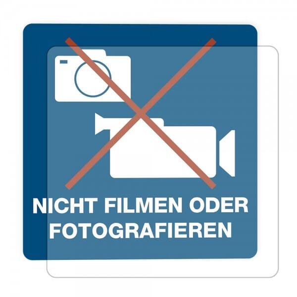 3 Stück Hinweis-Hinterglasaufkleber- Nicht Filmen oder Fotografieren (150x150 mm)