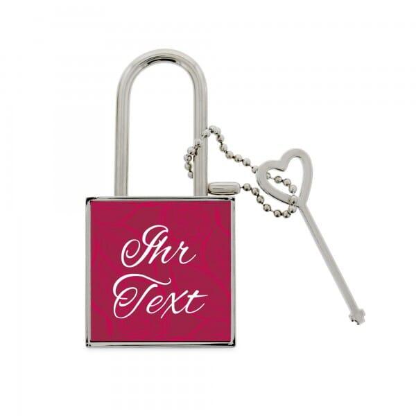 Liebesschloss für Paare - Ornament pink (Druckfläche 37x37 mm)