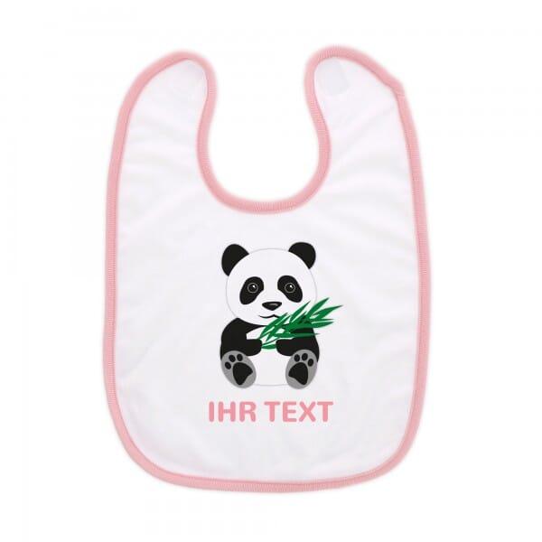 """Babylätzchen mit Klettverschluss """"Panda"""" inkl. individueller Druck"""