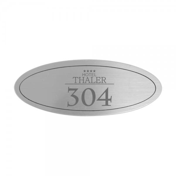 Türschild aus Edelstahl oval (50x30 mm - 5 Zeilen)