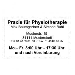 Physiotherapiestempel - Holzstempel / Selbstfärber (50x30 mm - 6 Zeilen)