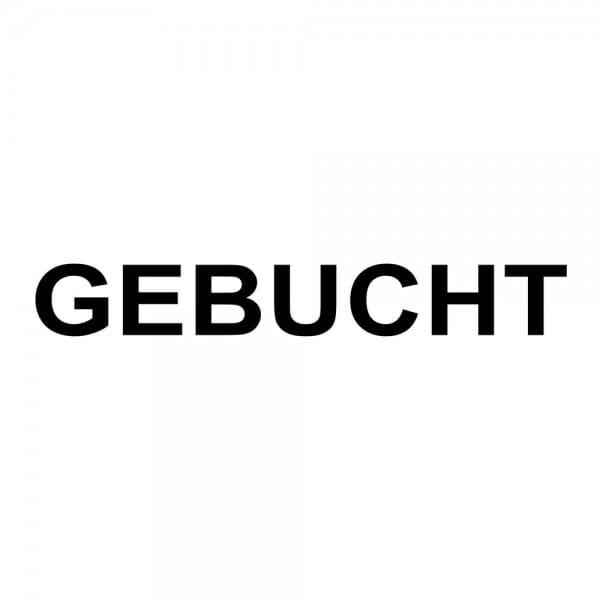 Holzstempel GEBUCHT (40x10 mm - 1 Zeile)