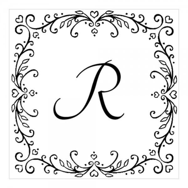 Monogrammstempel quadratisch - Girlanden aus Herzen