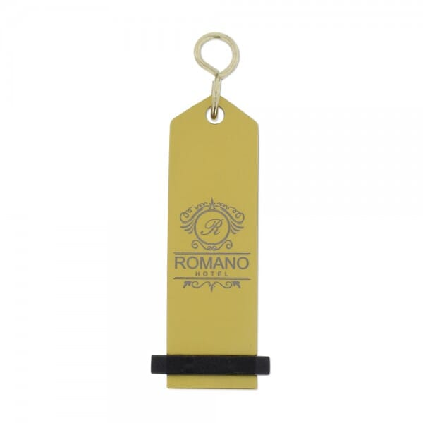 Hotel Schlüsselanhänger gold (65x20 mm - 3 Zeilen)