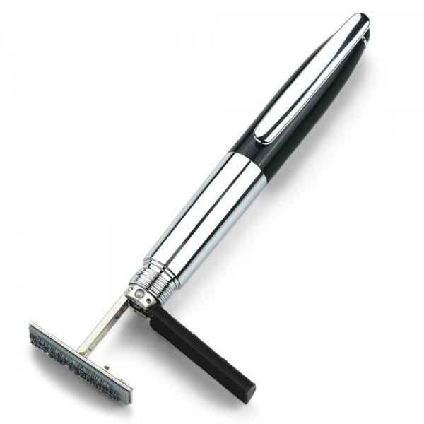 Heri New Promesa 8021 Kugelschreiberstempel Hochglanzverchromt (33x8 mm - 3 Zeilen)