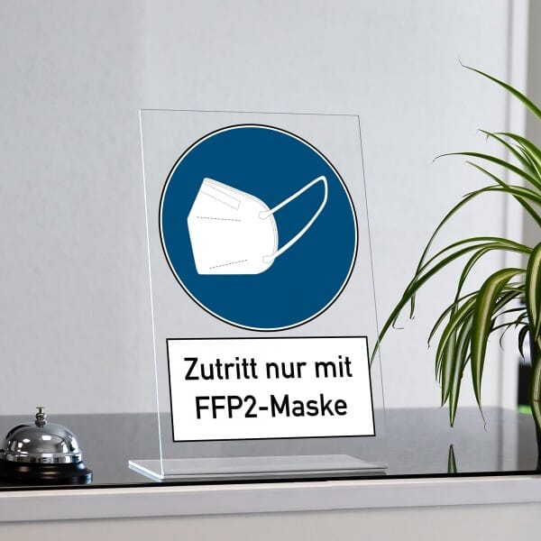 """Acrylaufsteller """"Zutritt nur mit FFP2-Maske"""" (drei verschiedene Größen)"""