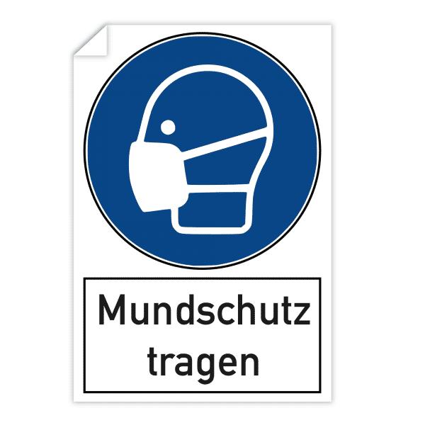3 Stück Aufkleber - Mundschutz tragen (200x300 mm)