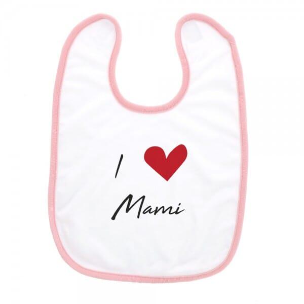 """Babylätzchen mit Klettverschluss """"I love Mami"""""""