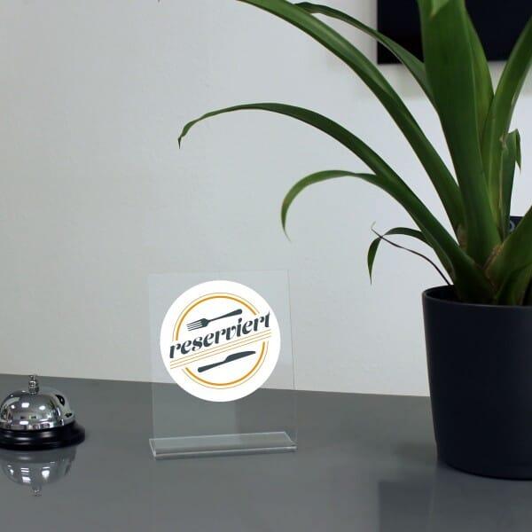 """Acrylaufsteller """"reserviert"""" - Besteck (ca.100x150 mm)"""