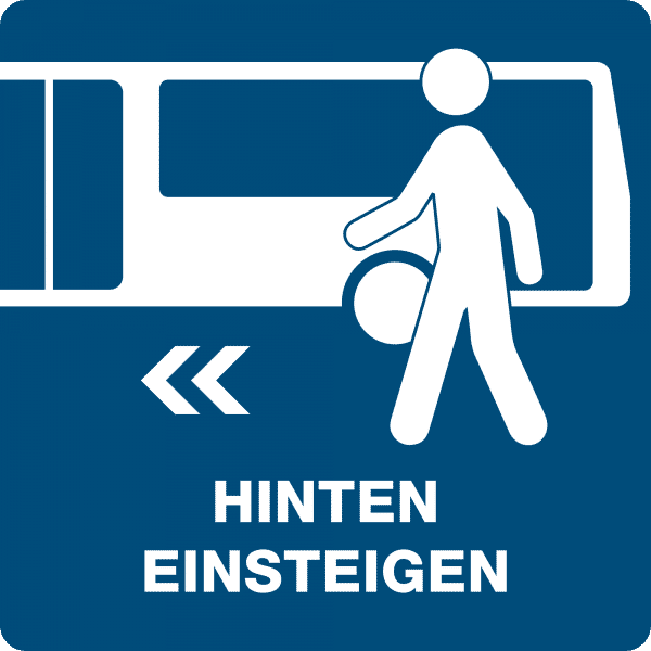 3 Stück HInweis-Aufkleber - Hinten einsteigen (150x150 mm)