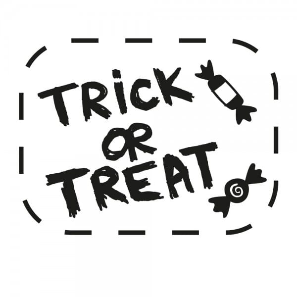 Halloween Holzstempel - Trick or Treat (40x30 mm)